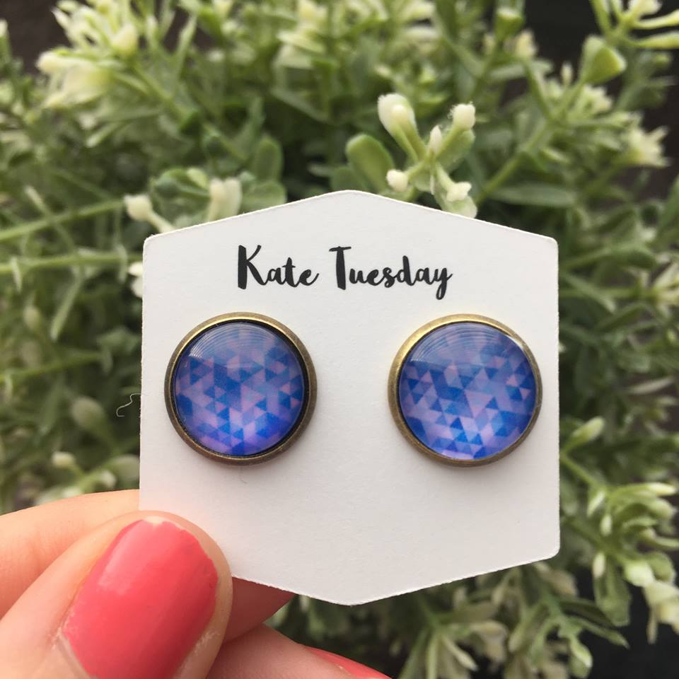 Blue Purple Mosaic Earrings