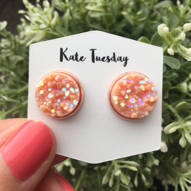 12mm Orange Peach Druzy Earrings