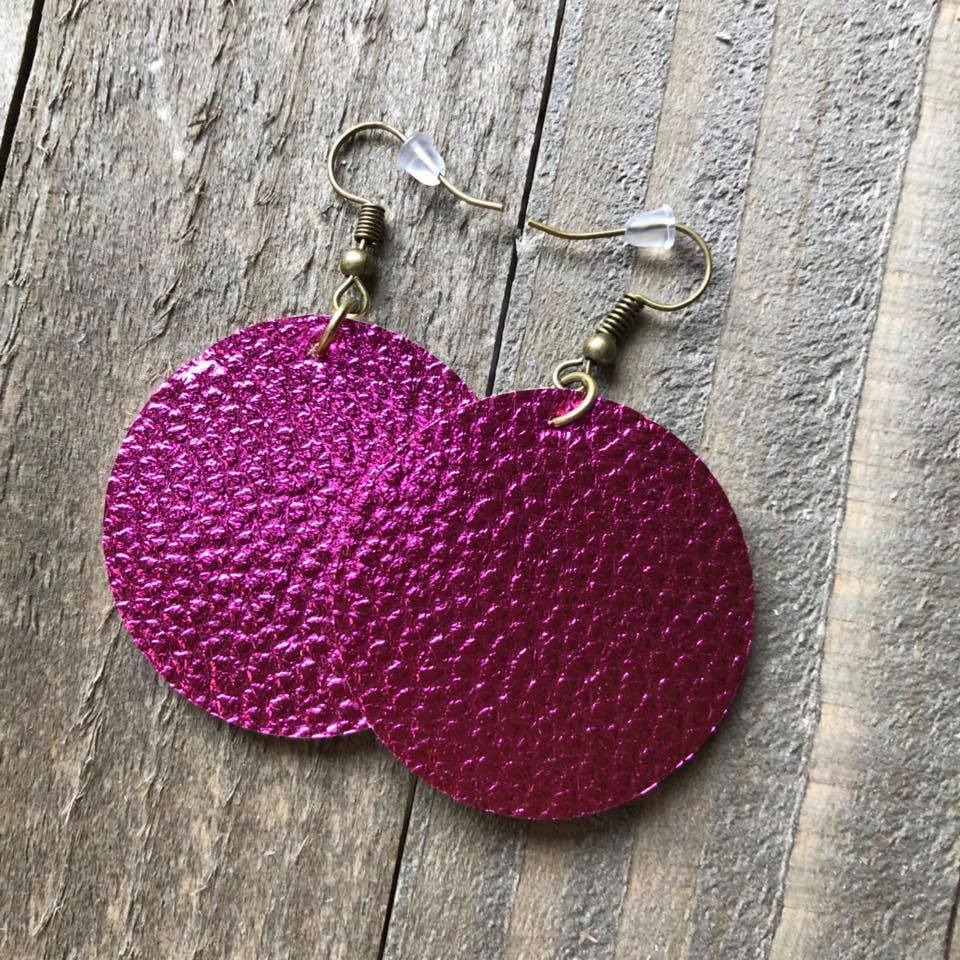 Metallic Pink Leather Round Earrings