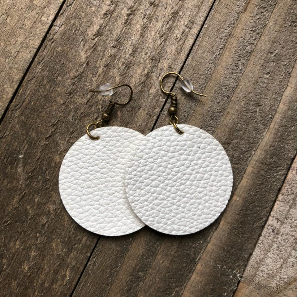 White Leather Round Earrings