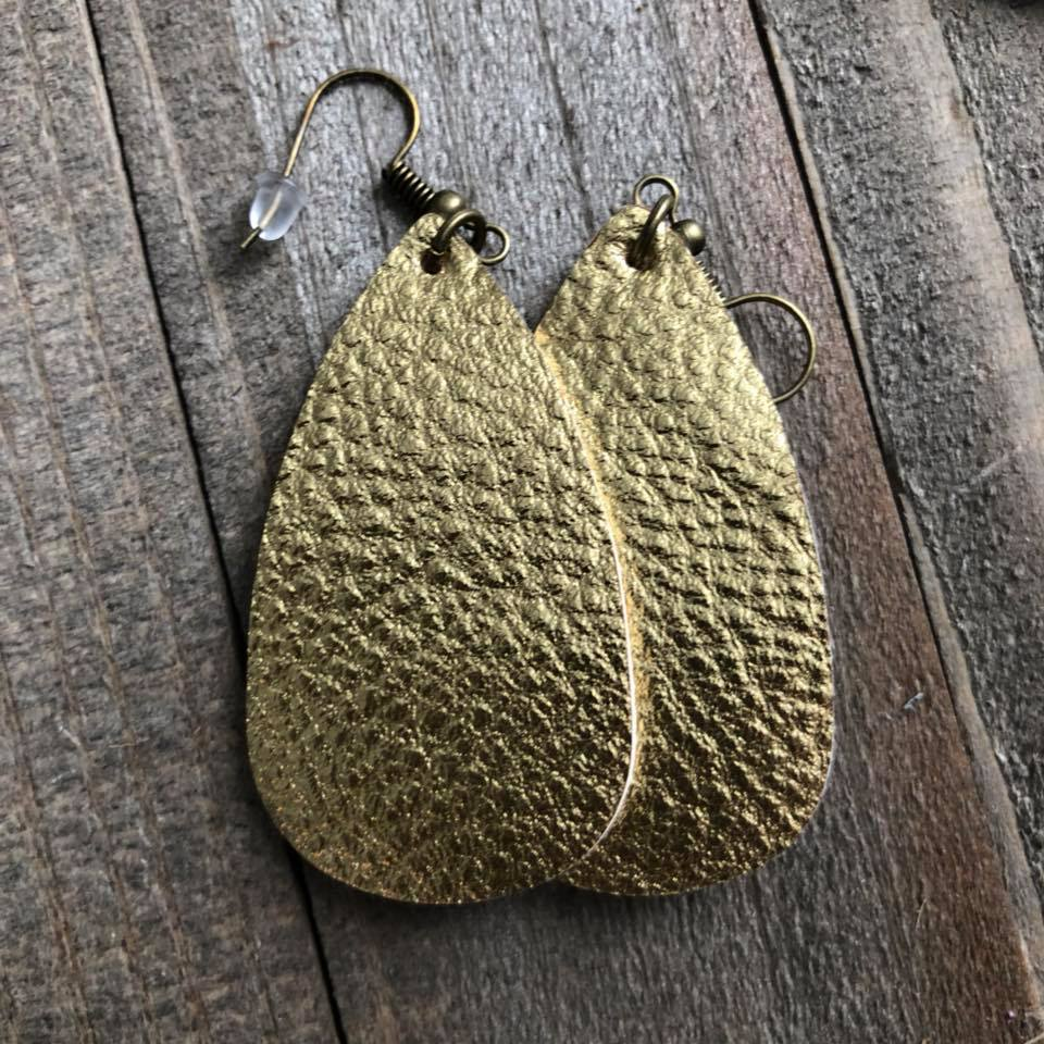 Gold Leather Oval Teardrop Earrings