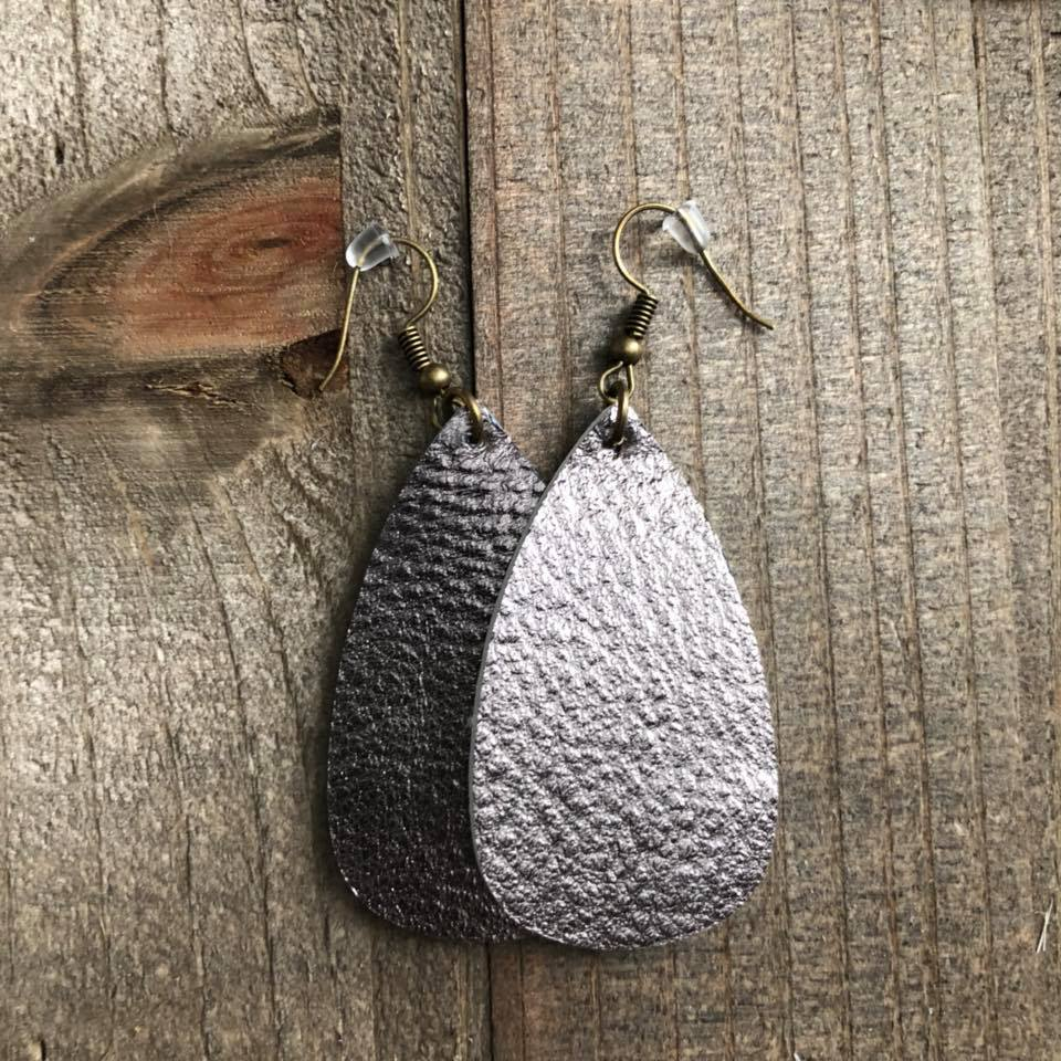 Bronzed Purple Grey Leather Oval Teardrop Earrings