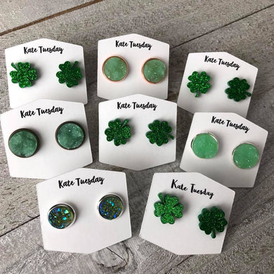 Saint Patricks Day Druzy Earring Box 4 Leaf Shamrock