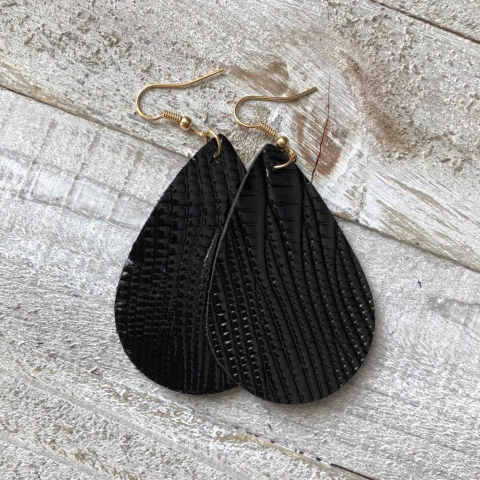 Black Textured Double Sided Leather Earrings