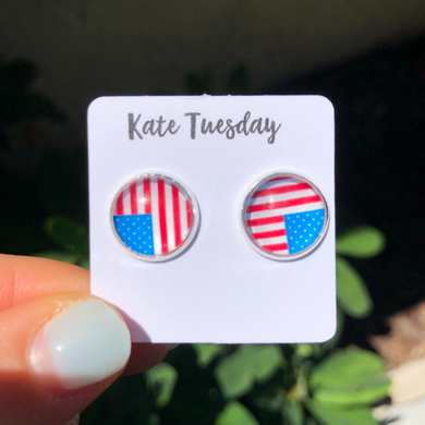Red, White + Blue Flag 4th of July Stud Earrings