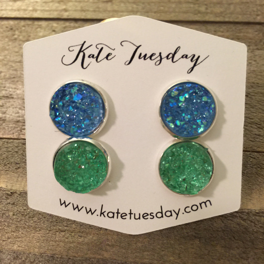 Green + Blue Set of 12mm Druzy Earrings