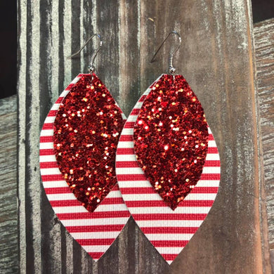 Red Glitter with Red Stripe Faux Leather Hang Earrings