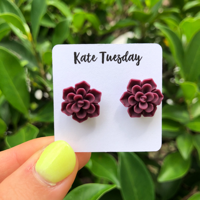 Succulent Flower Stud Earrings - Burgundy