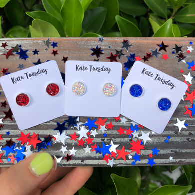 Red, White, and Blue 8mm Druzy Stud Earrings