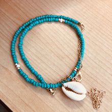 Turquoise Gold Beaded Shell Necklaces