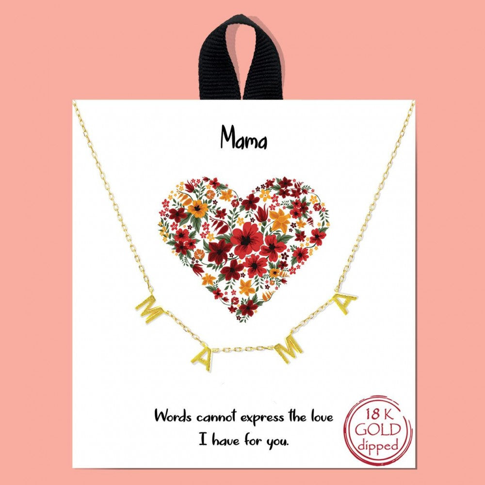 MAMA Gold Necklace on Card SALE