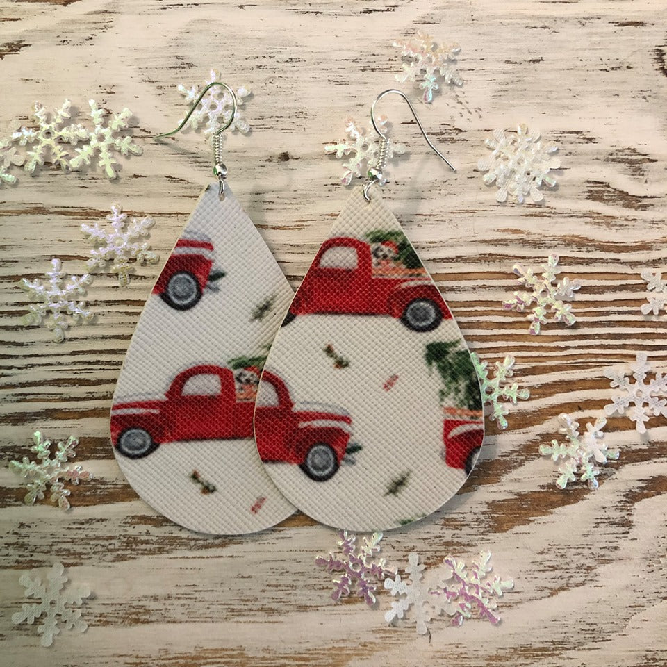 Holiday Old Fashioned Red Truck Leather Earrings