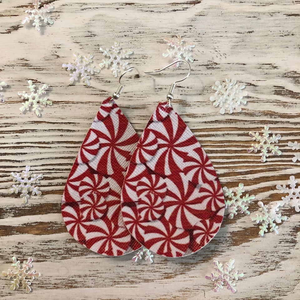 Holiday Red White Candy Leather Earrings