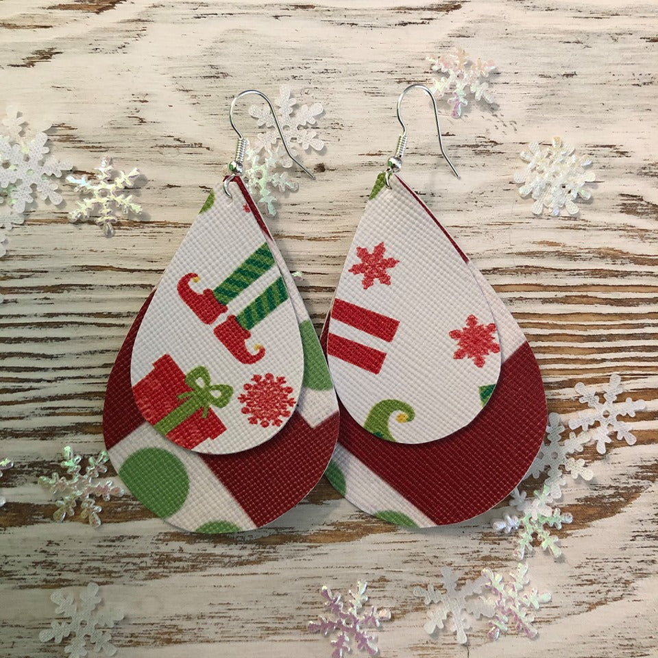 Holiday Two Layer Santa Red Elf Earrings