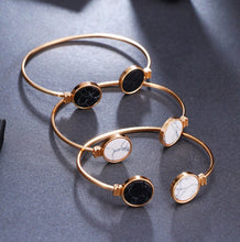 Black, White, and Black/White Faux Marble Gold Bangles