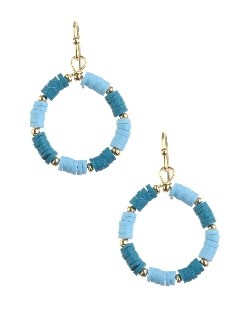 Blue Summer Hoop Earrings