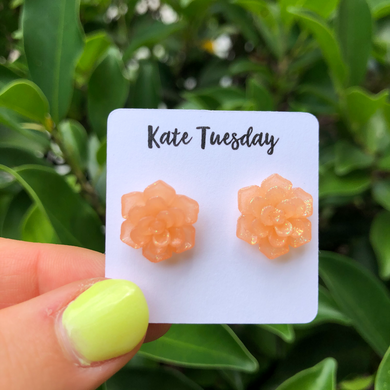 Succulent Flower Stud Earrings - Glitter Peach