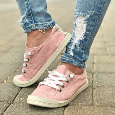 Pink Lace Up Ava Sneakers