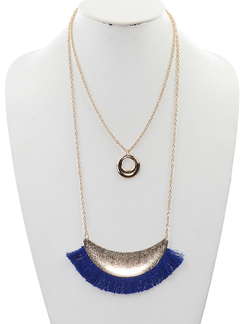 Blue Fringe Gold Necklace