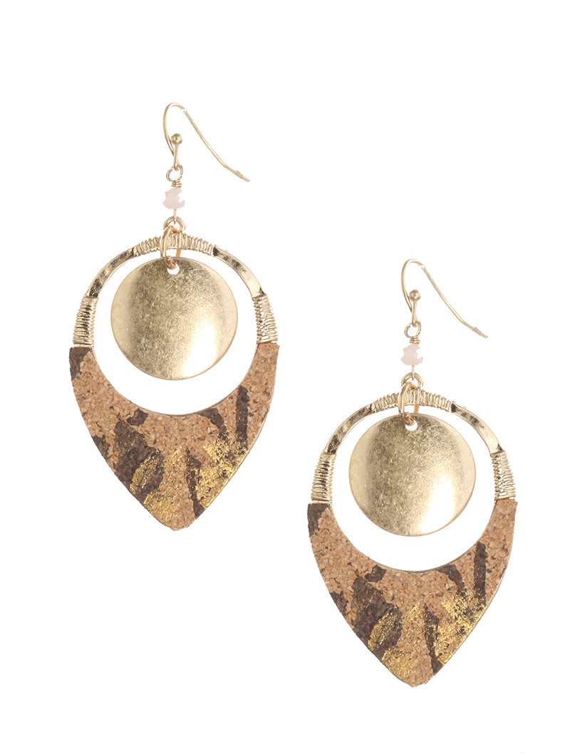 Gold Cork Natural Hand Wired Earrings