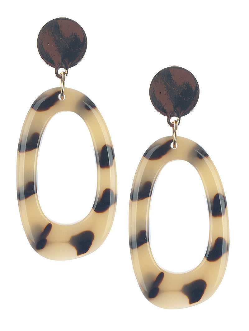 Leopard Oval Dangle Earrings