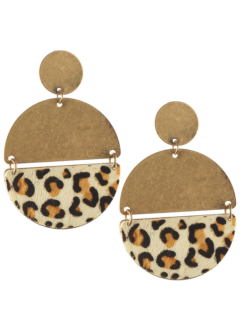 Leopard Half Circle Gold Hang Drop Earrings