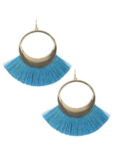 Sea Blue Tassel Fringe Hang Earrings