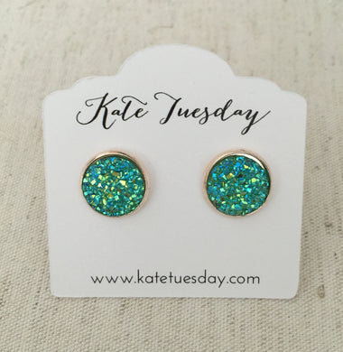 Under The Sea Green Druzy Earrings