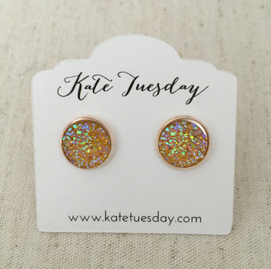 Under The Sea Yellow Druzy Earrings