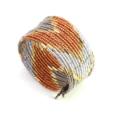 Fall Beaded Cuff Wrap Bracelet