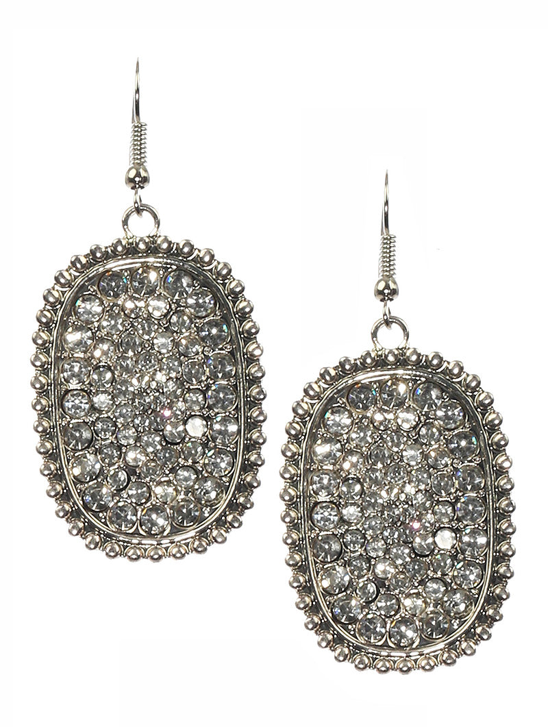 Clear Crystal Pave Hang Earrings
