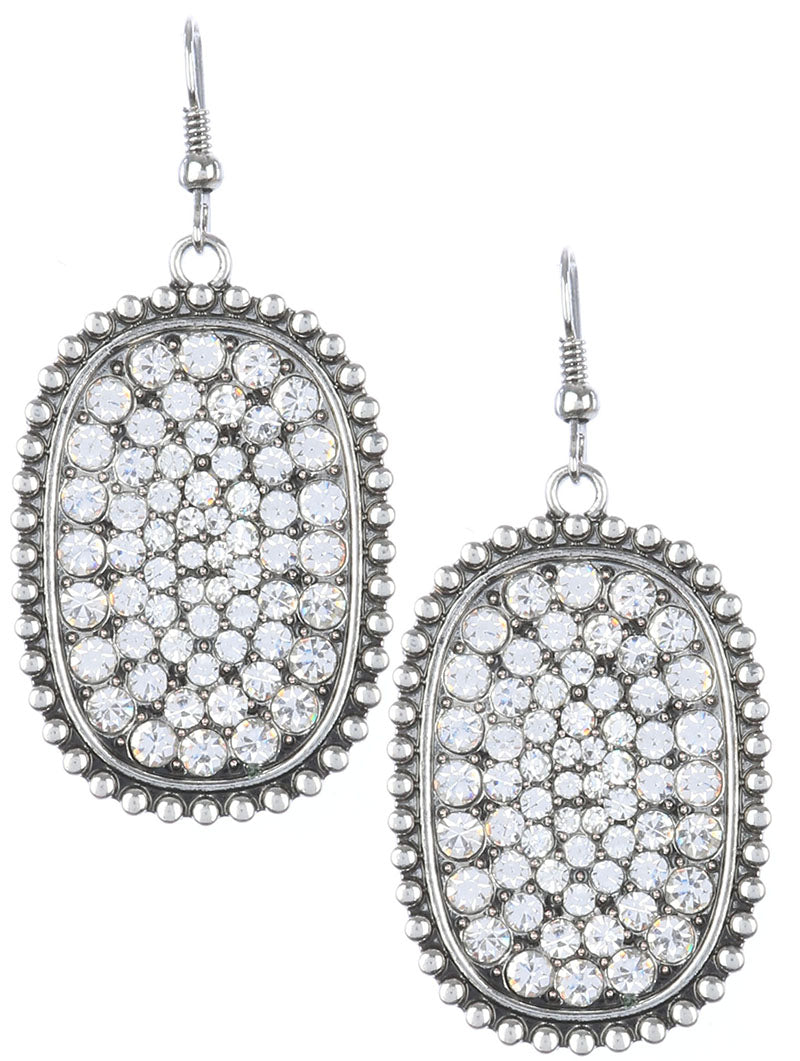 Silver Crystal Pave Earrings