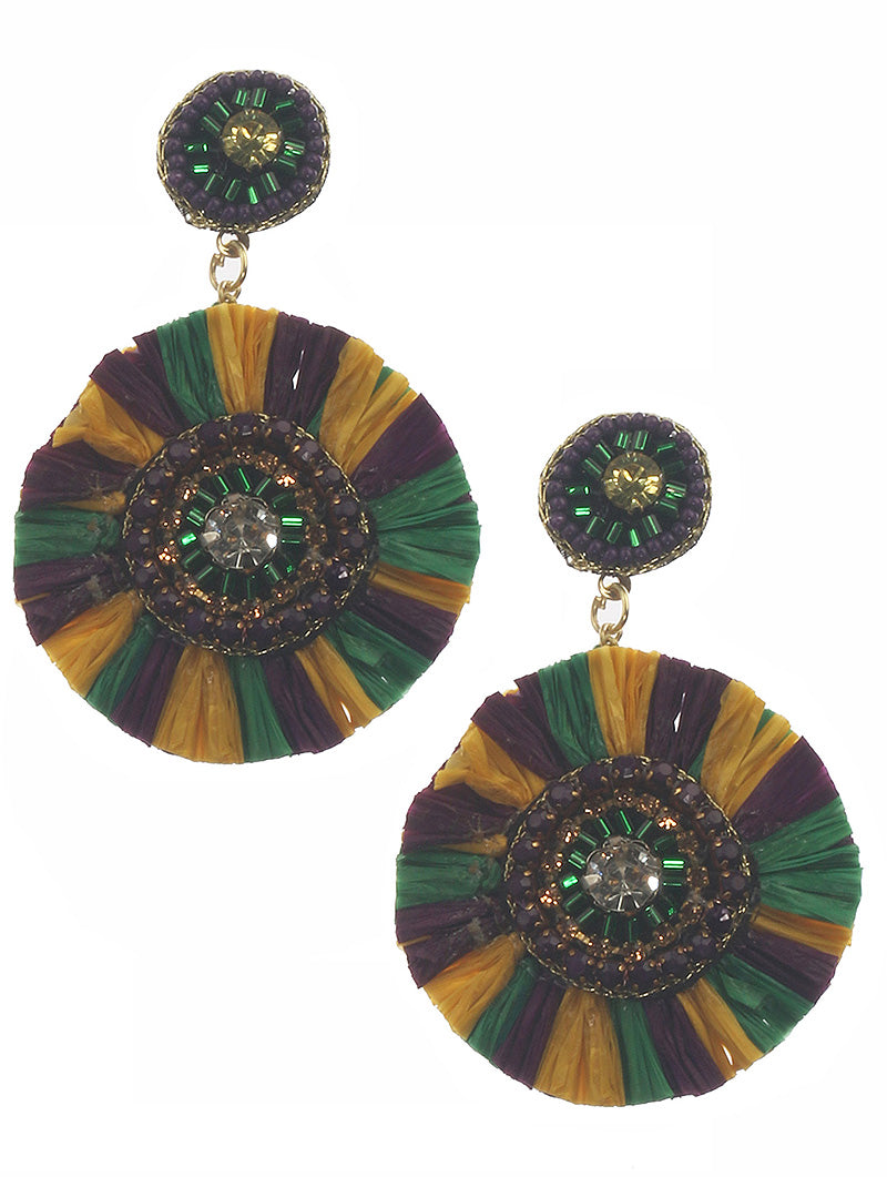 Straw Round Mardi Gras Gem Earrings