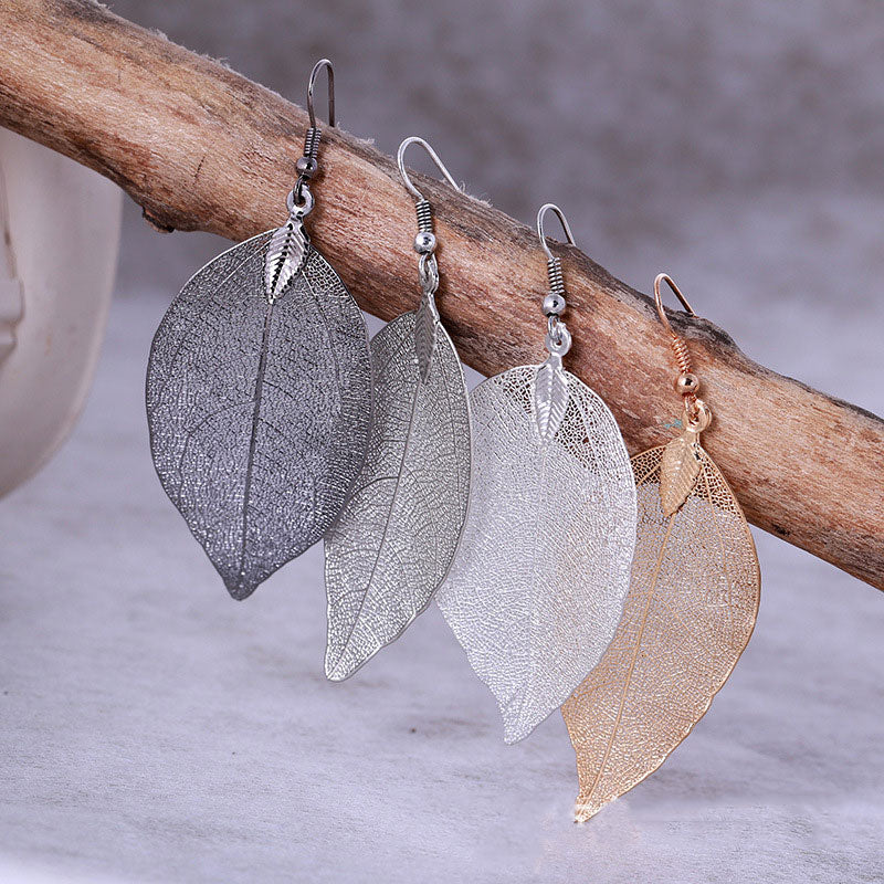 Metal Metallic Large Leaf Earrings