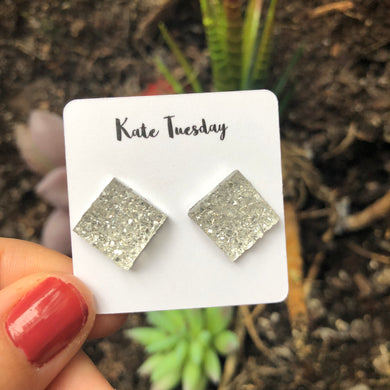 Clear Square Druzy Earrings