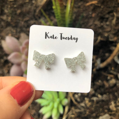Sparkly Silver Bow Acrylic Earrings