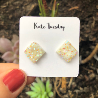 White Square 10mm Raw Druzy Earrings