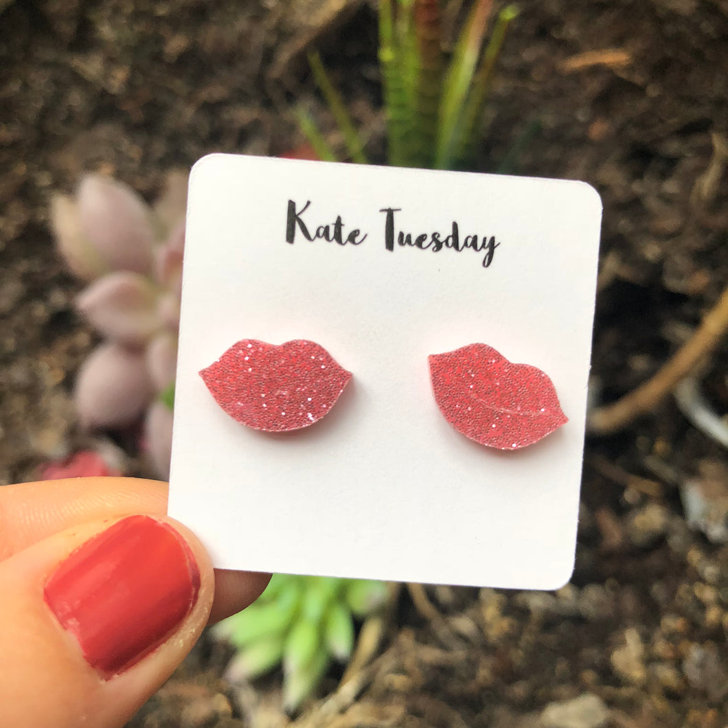 Pink Lips Sparkly Acrylic Earrings