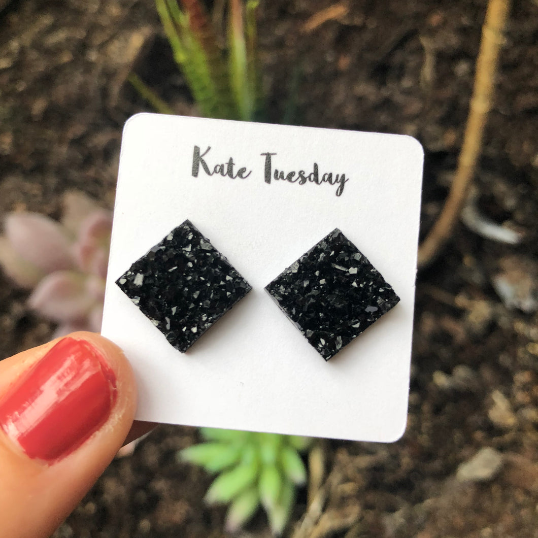 Black Thick Square Druzy Earrings