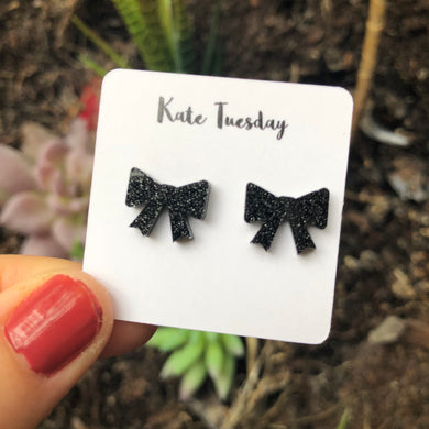 Black Sparkly Bow Acrylic Earrings