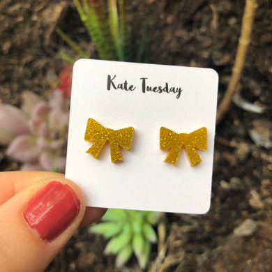 Golden Bow Acrylic Earrings