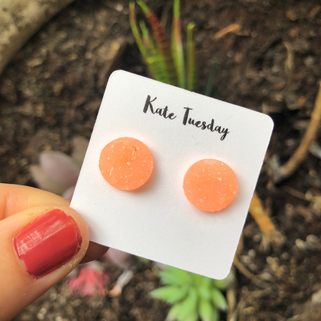 Raw 12mm Miami Light Pink Druzy Earrings
