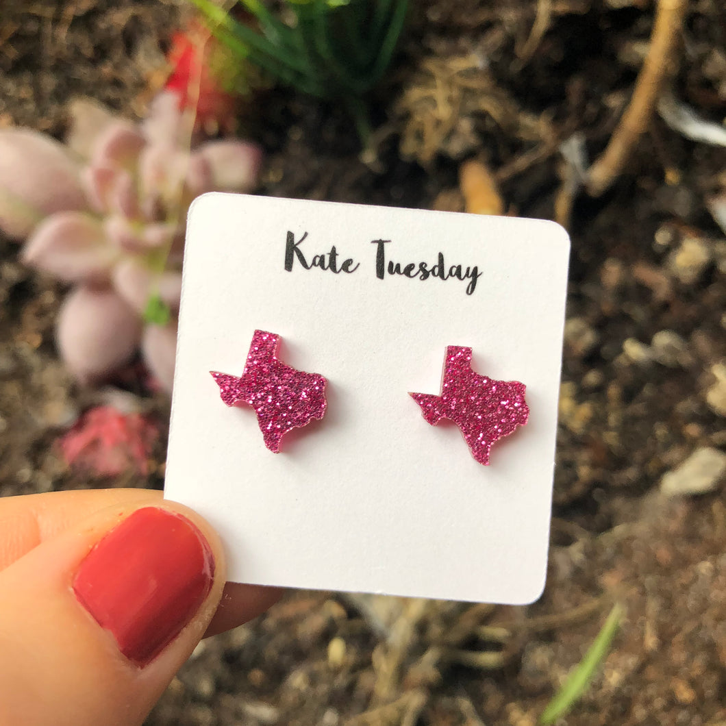 Texas Magenta State Stud Earrings