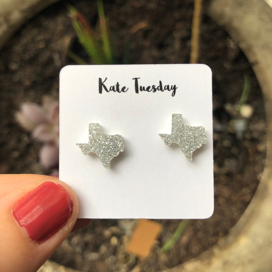 Texas Silver State Stud Earrings
