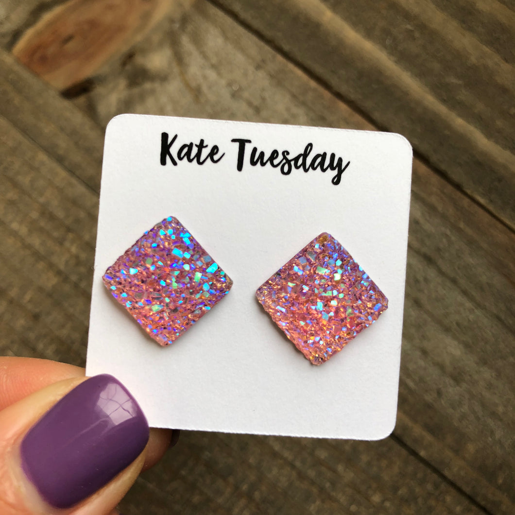 Pink Square Druzy Earrings