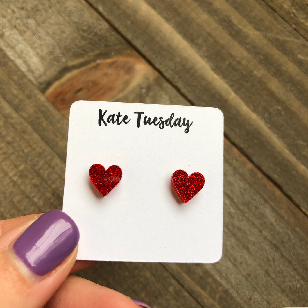 Little Red Acrylic Glitter Heart Earrings