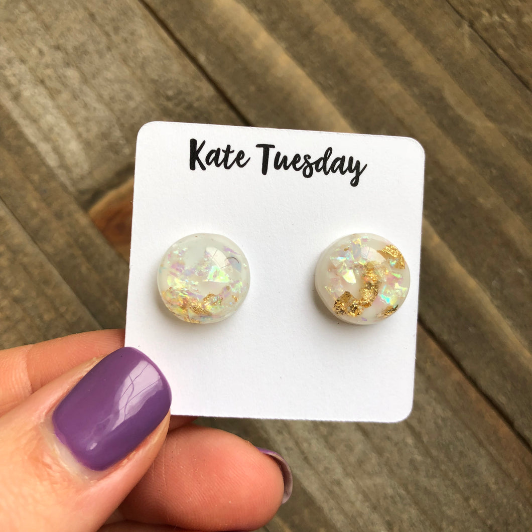 White Gold Flake Druzy Like 12mm Earrings