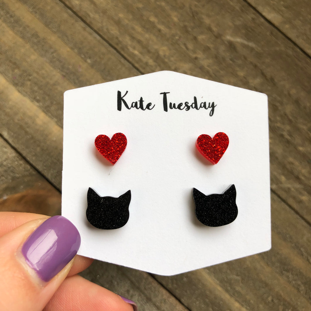 Double Set Glittery Acrylic Cat and Heart Earrings