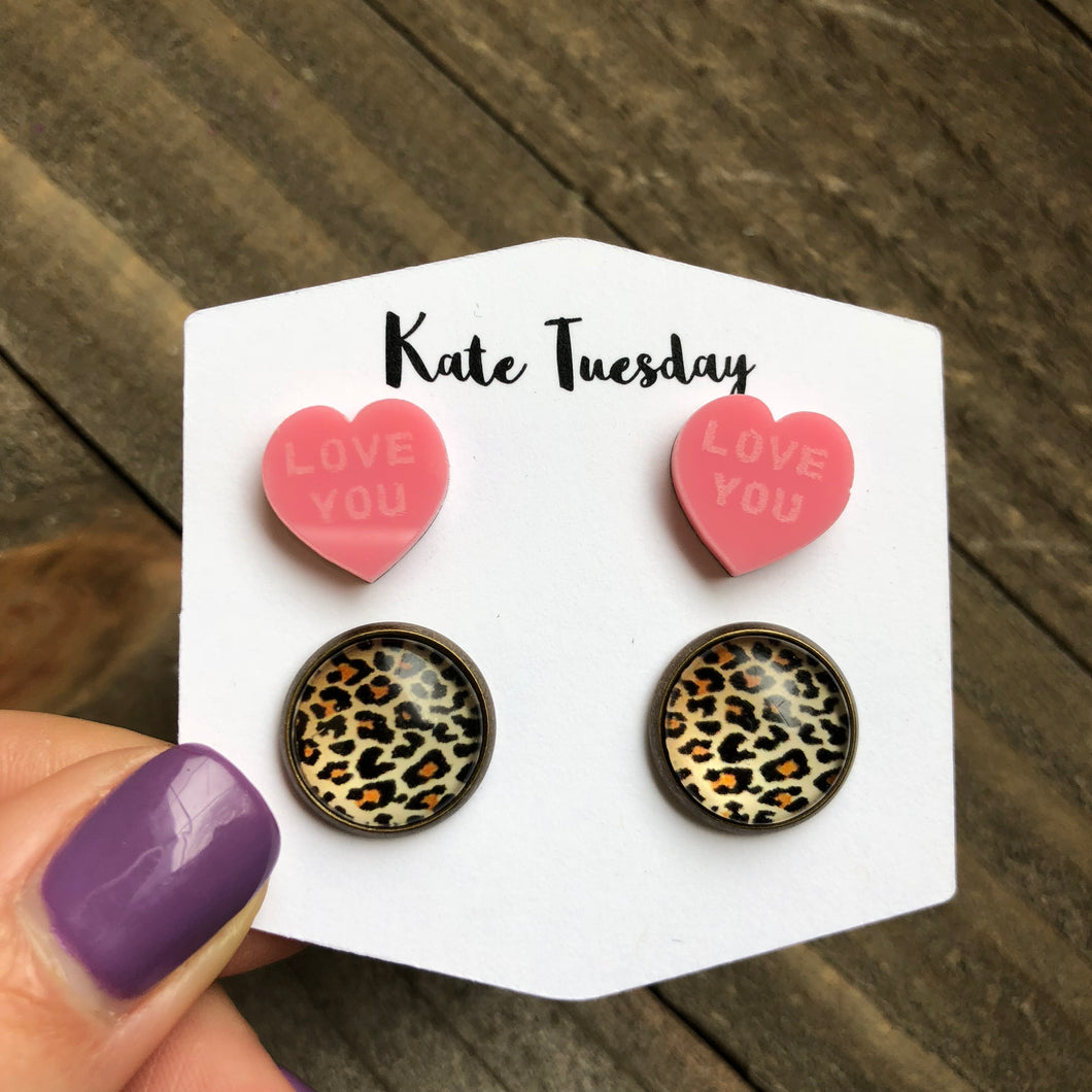Cheetah Double Set Acrylic Heart Earrings