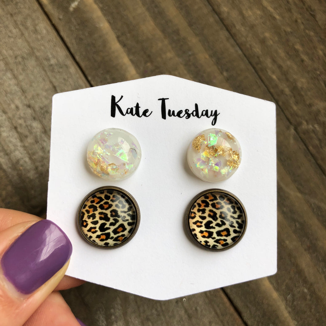 Double White Gold Flake and Cheetah Earrings